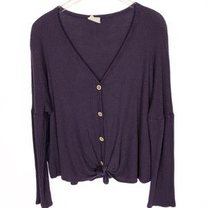 Long Sleeve Tie Front Top Waffle Knit Large Purple